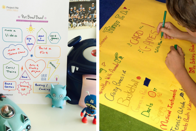 Kids can create a Not Bored Board to combat school holiday boredom